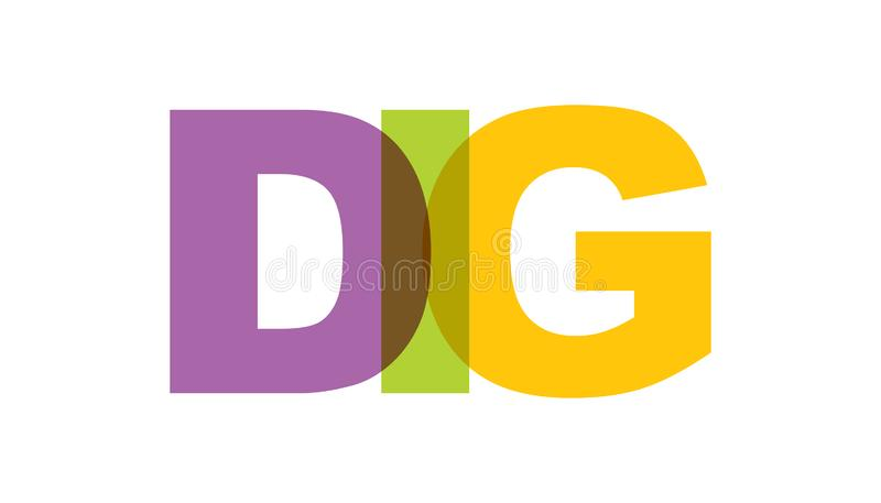 GRABUNG, Phrasendeckungsfarbe keine Transparenz Konzept des einfachen Textes für Typografieplakat, Aufkleberentwurf, Kleiderdruck lizenzfreie abbildung