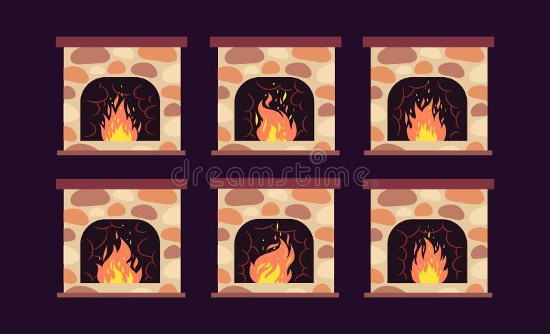 Graby animacja Domowe retro graby z ogieniem Kreskówek boże narodzenia i wewnętrzna wektorowa dekoracja ilustracja wektor