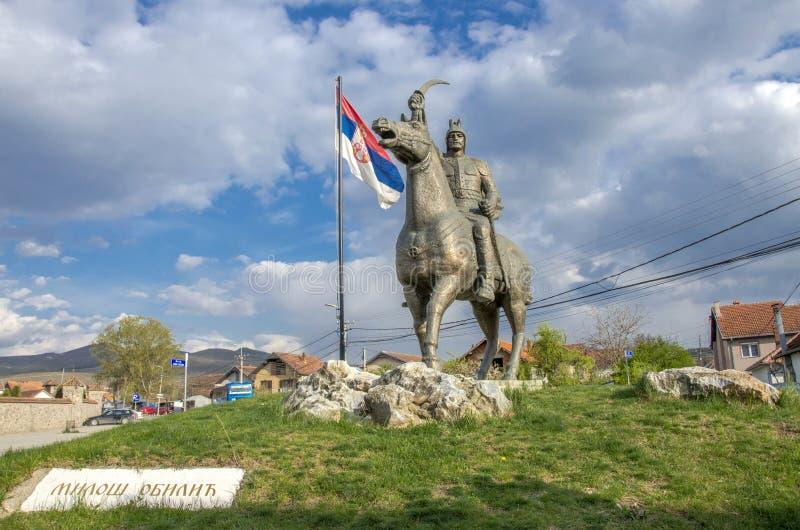 "Gracanica Kosovo †""Milos Obilic Monument royaltyfria bilder"