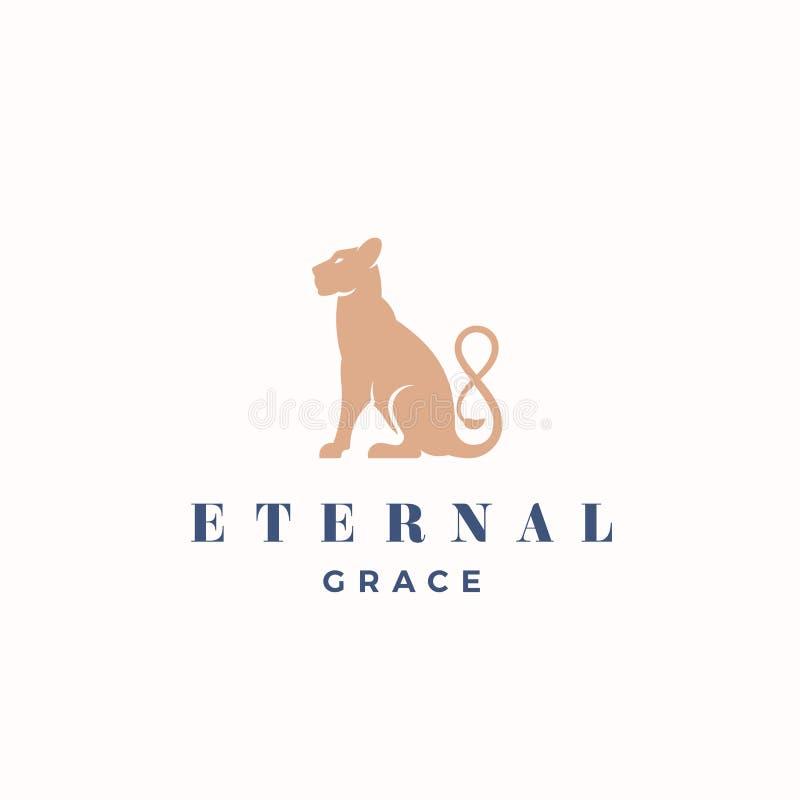 Grace Abstract Vector Sign eterno, emblema o Logo Template Siluetta di seduta della leonessa di Gracefull con l'infinito illustrazione vettoriale