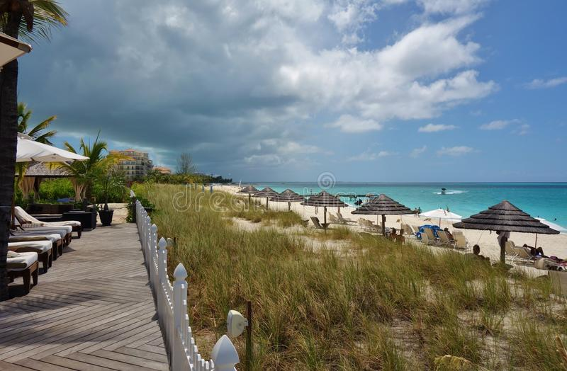 Grace Bay Beach i Providenciales, turker och Caicos royaltyfri foto