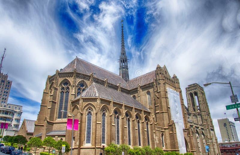 Grace Cathedral san francisco blue sky stockfotografie