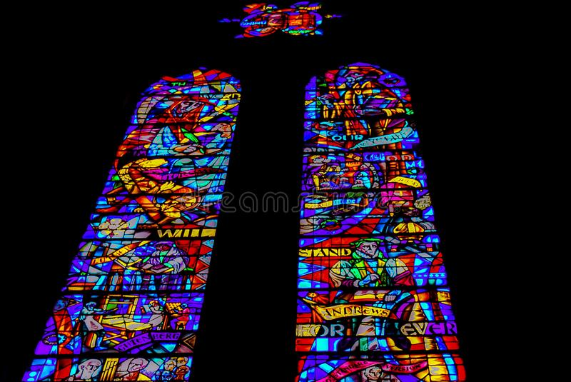Grace Cathedral Stained Glass Windows in San Francisco stock images
