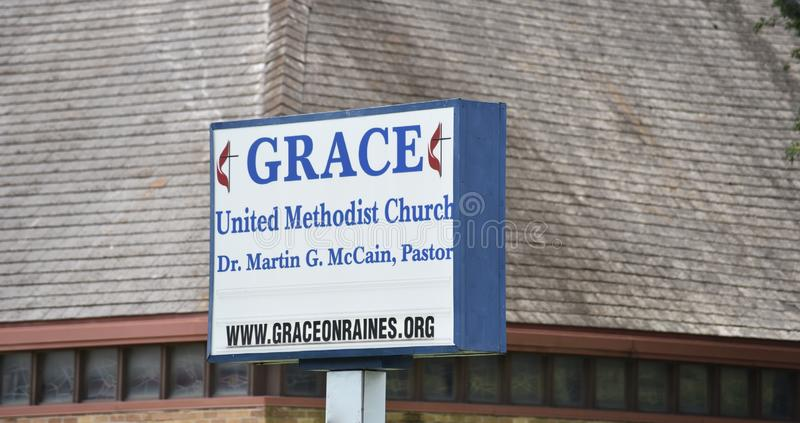 Grace United Methodist Church Sign, Tennessee royalty free stock photography