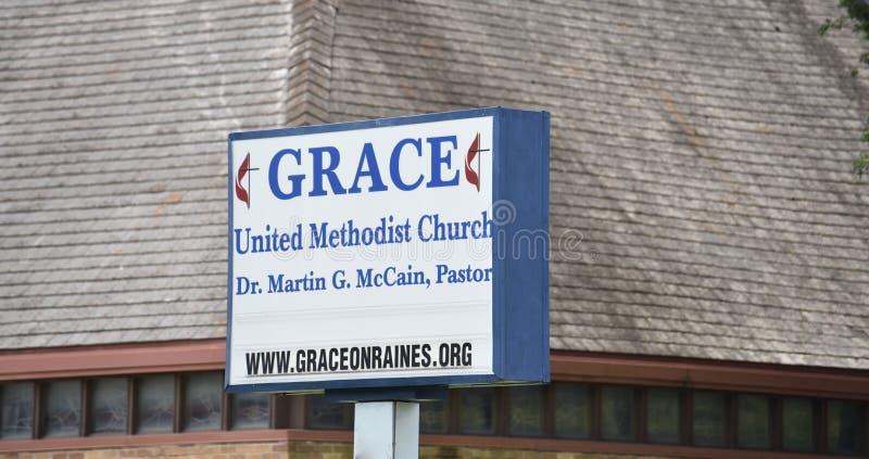 Grace United Methodist Church Sign, Tennessee fotografía de archivo libre de regalías