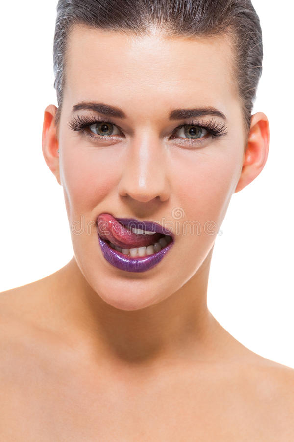 Graceful attractive woman with purple lips royalty free stock images