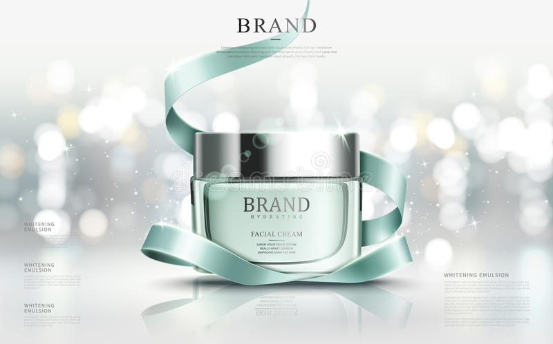Graceful cosmetic ads. Hydrating facial cream for annual sale or christmas sale. Turquoise cream mask bottle on glitter particles with elegant ribbon. 3D vector illustration