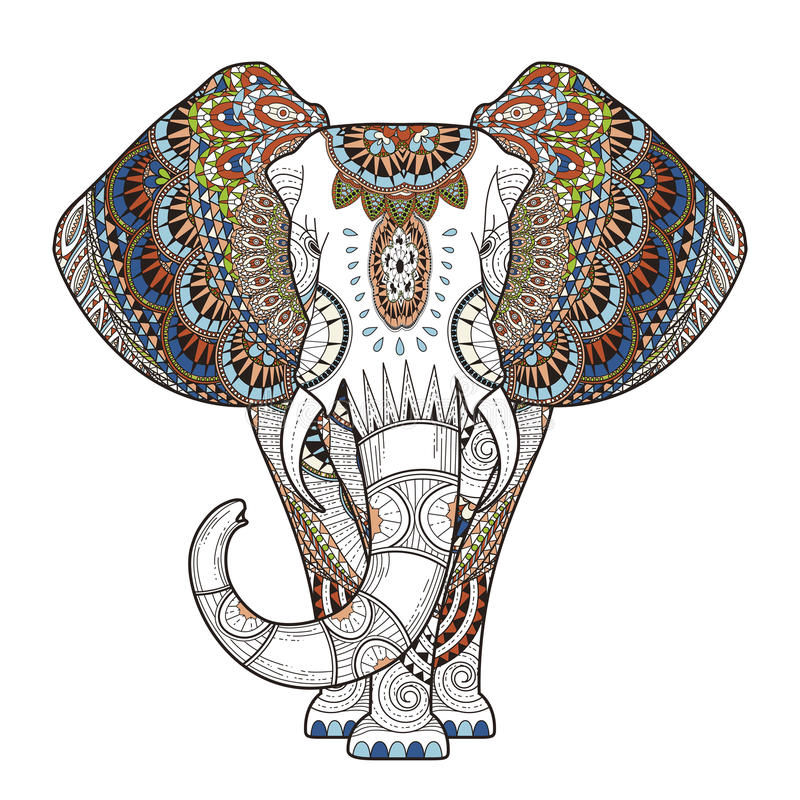 Graceful elephant. Coloring page in exquisite style