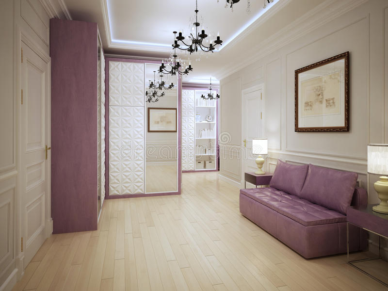 Graceful entrance hall art deco style. 3D render stock image