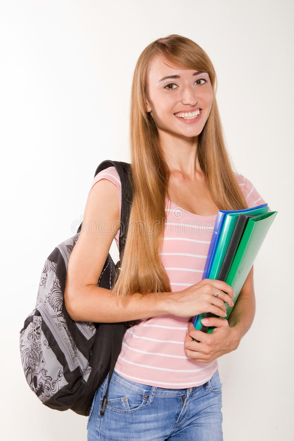 Graceful Female Student With Books In Hands Royalty Free Stock Photo