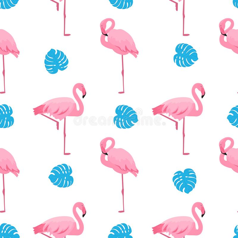 Graceful flamingos and monstera leaves. Tropical summer seamless pattern vector illustration