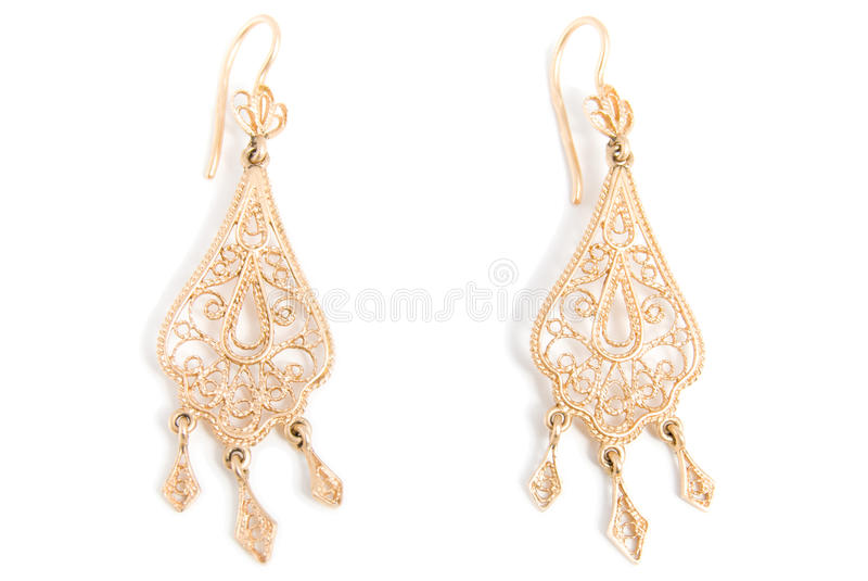 Download Graceful gold earrings stock image. Image of glamour - 17635171