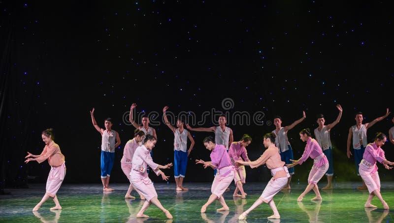 Graceful posture-The Yellow River Chorus-Group dance. Graduation performance of class5, grade 11, dancing department,Jiangxi Vocational Academy of Art on Dec 26 stock images