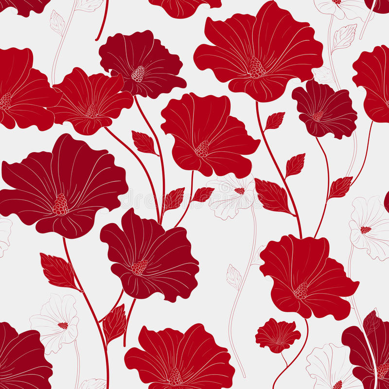 Graceful red seamless floral pattern royalty free illustration