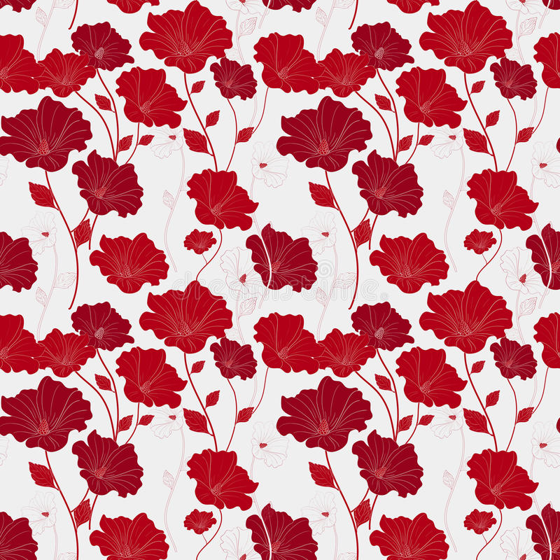 Graceful red seamless floral pattern vector illustration