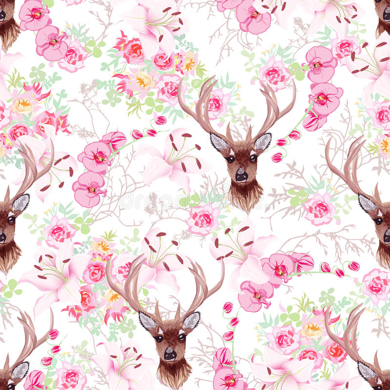 Graceful reindeer and flowers seamless vector pattern royalty free illustration