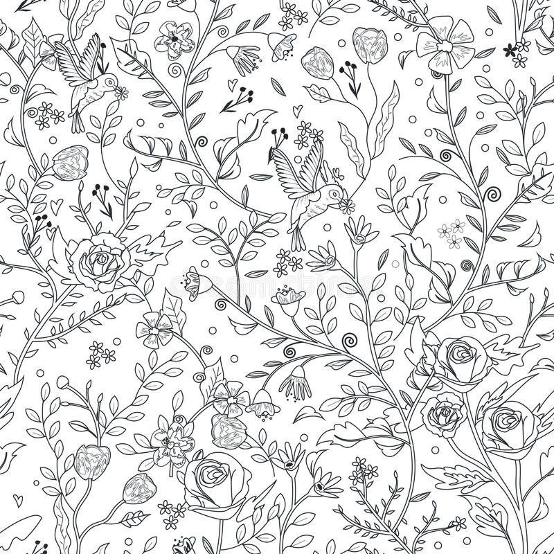 Graceful seamless floral pattern coloring page vector illustration
