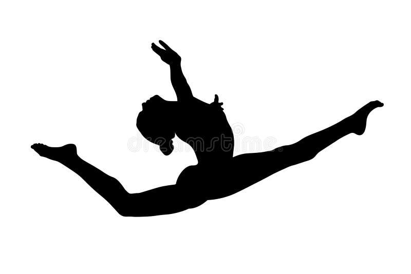 Graceful split leap female gymnast. In artistic gymnastics royalty free illustration