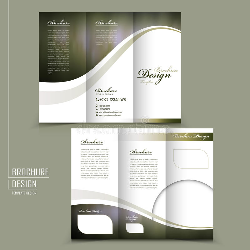Graceful tri-fold brochure template design. In elegant golden color royalty free illustration
