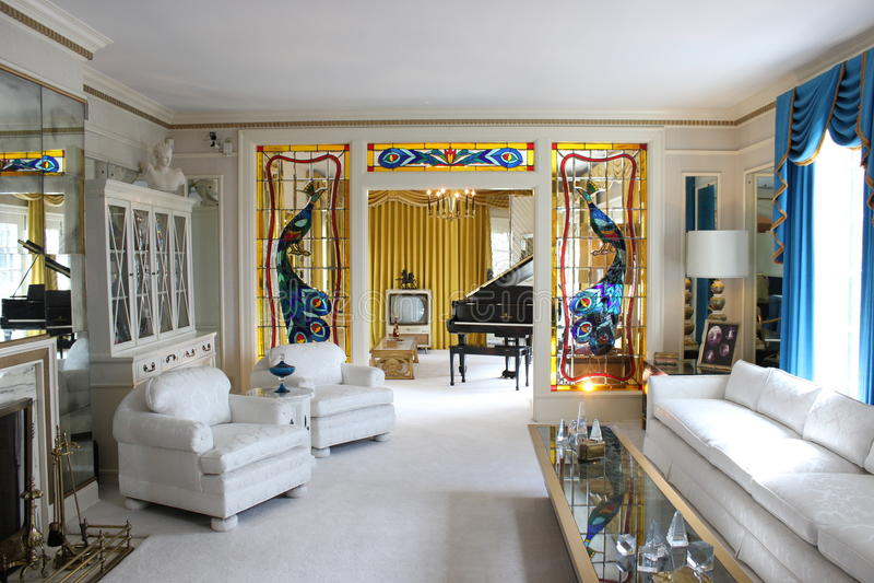 Graceland Elvis Presleys żywy pokój zdjęcia stock