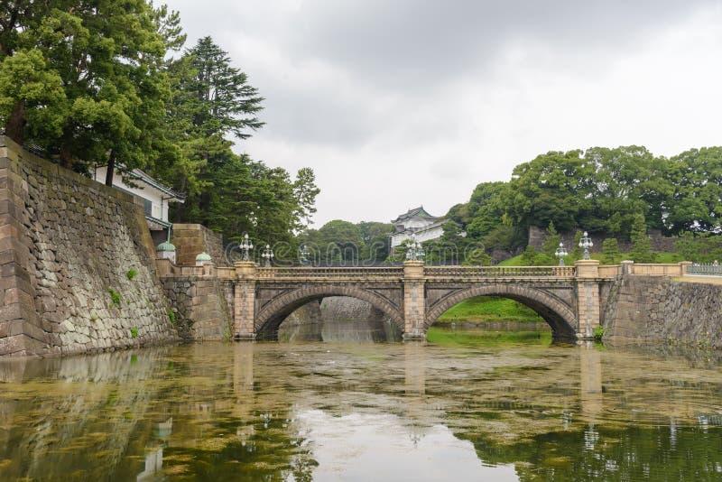 Gracht en brug - Keizerdie het Paleisgebied van Tokyo in Chiy wordt gevestigd stock afbeeldingen