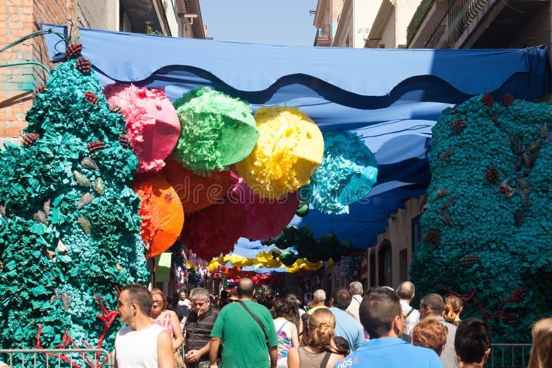 Gracia Festa Major.  Barcelona arkivbilder