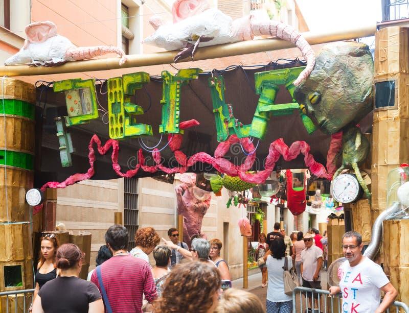 Gracia Festa Major i Barcelona royaltyfri bild