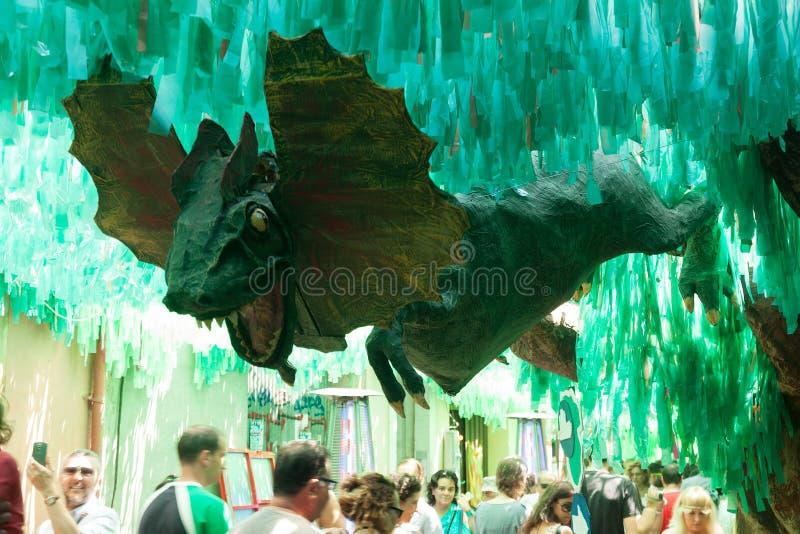 Gracia Festa Major i Barcelona, Spanien royaltyfri foto