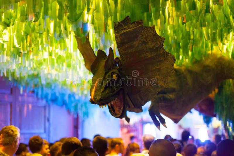 Gracia Festa Major i natt. Barcelona arkivfoto