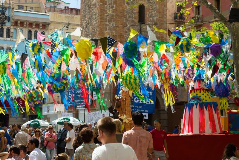 Gracia Festival i Barcelona, Catalonia arkivfoto
