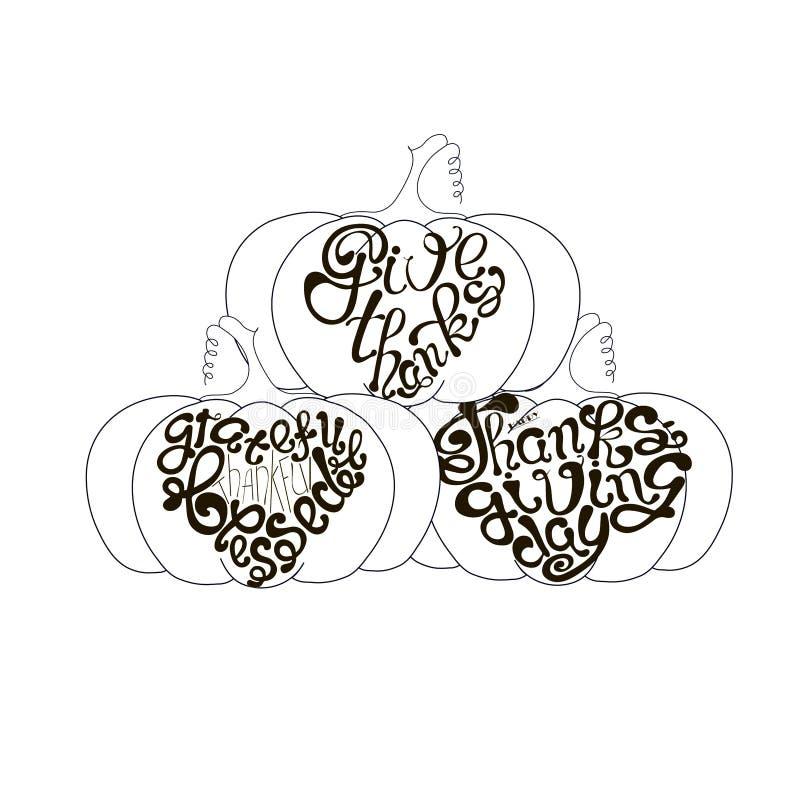 Gracias, Agradecido Gracias Bendecido, Feliz Día de Acción de Gracias, letras en elementos de diseño monocromo de calabaza stock de ilustración