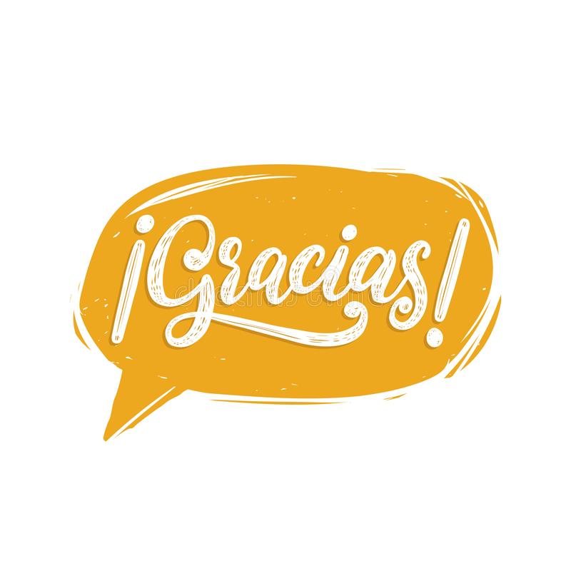 Gracias, caligrafia Tradução espanhola Thank você frase Rotulação da mão do vetor na bolha do discurso ilustração do vetor