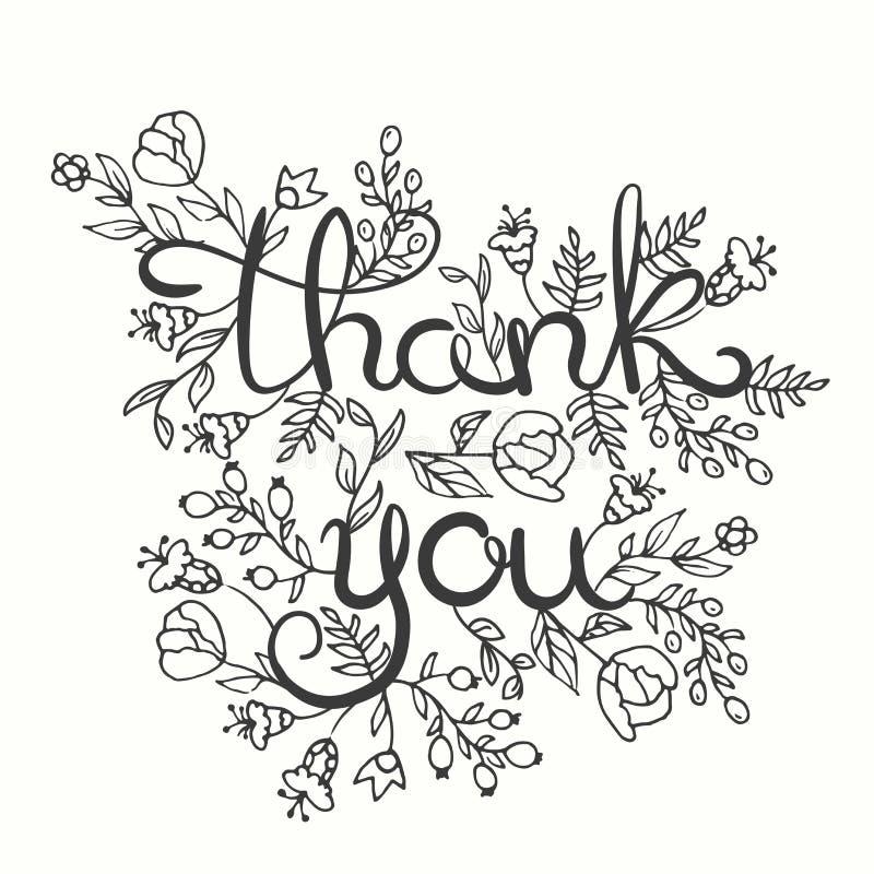 Gracias cardar Diseño de letras dibujado mano Tarjeta de felicitación con las flores Línea estilo del arte Ilustración del vector ilustración del vector