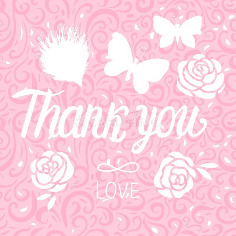 Gracias cardar El blanco de la caligrafía de las letras de la inscripción del vector aislado en rizos rosados texturiza el fondo libre illustration