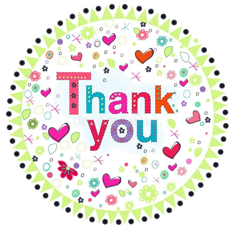 Gracias circundar la tarjeta de felicitación con las flores coloridas ilustración del vector