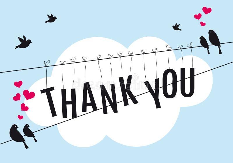 Gracias con los pájaros en el cielo, vector stock de ilustración