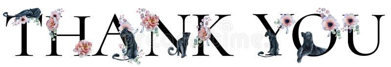 Gracias diseño de la palabra de la acuarela de la muestra de las letras con los ramos florales y la inscripción dibujada mano de  libre illustration