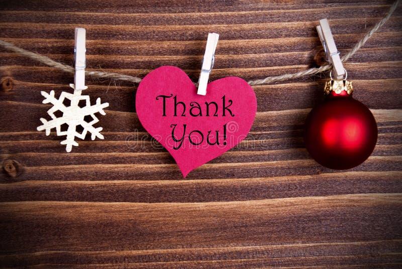 Gracias en un corazón con la decoración de la Navidad foto de archivo libre de regalías