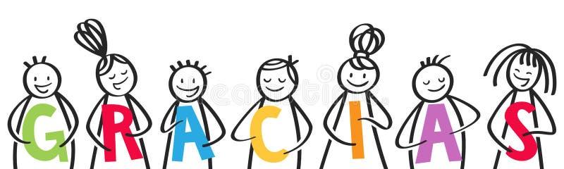 GRACIAS, grupa kij oblicza trzymać kolorowych listy, hiszpańscy dzieciaki mówić dziękuje ciebie royalty ilustracja