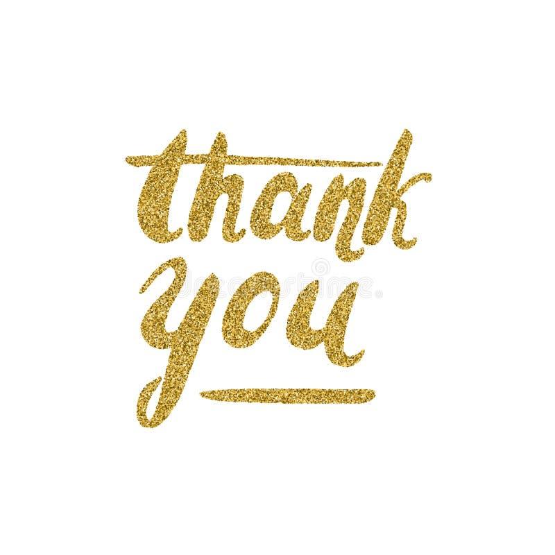 Gracias - las letras con la textura del brillo del oro stock de ilustración