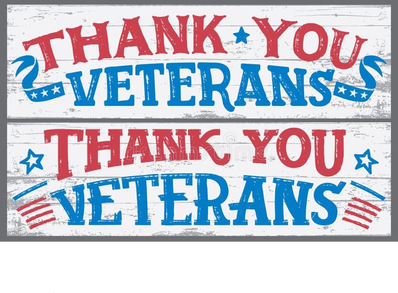Gracias las muestras de madera de los veteranos libre illustration