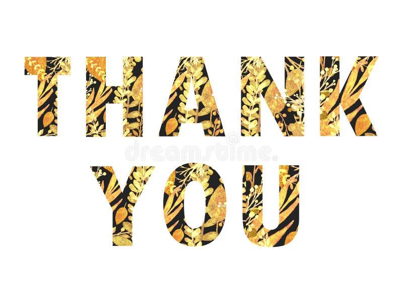 Gracias, letras negras con las hojas de oro stock de ilustración