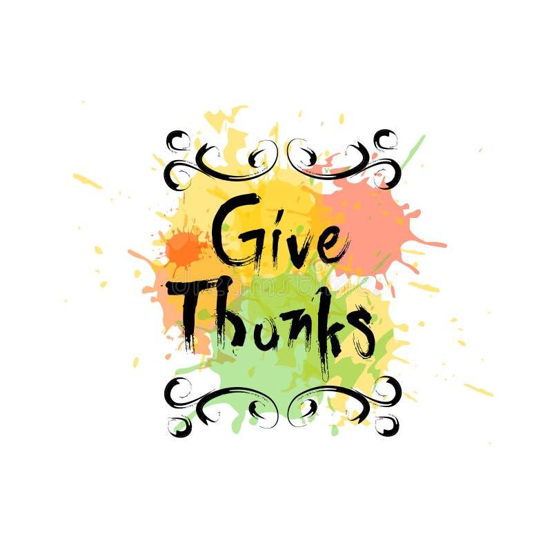 Gracias, logotipo feliz de Autumn Traditional Holiday Greeting Card del día de la acción de gracias stock de ilustración