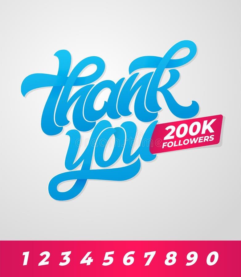 Gracias los seguidores 200K Bandera Editable del vector para los medios sociales con las letras del cepillo en fondo aislado Vect ilustración del vector