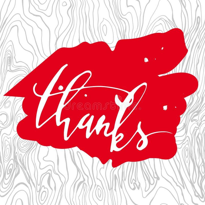 Gracias Mano-letras Tarjeta del regalo aislada en blanco Caligrafía moderna Letras del cepillo stock de ilustración