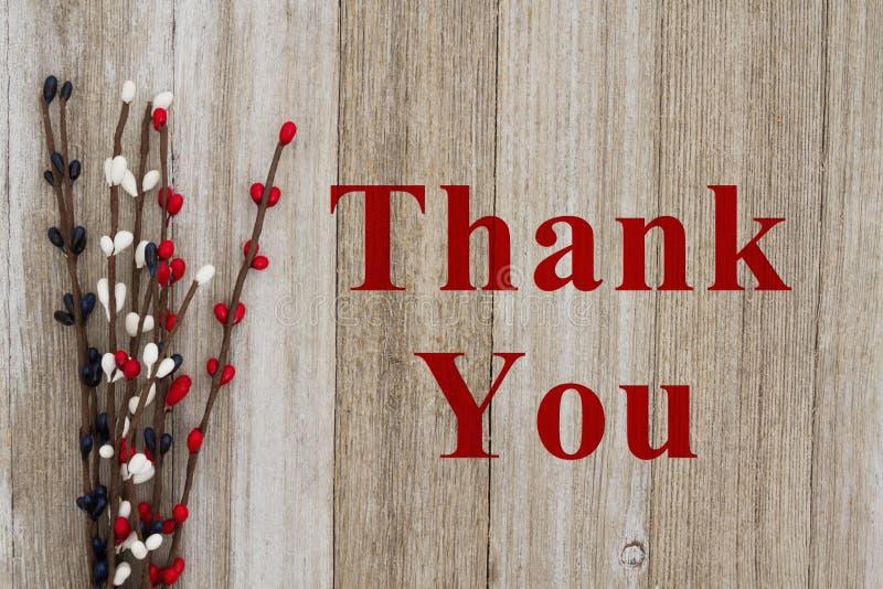 Gracias mensaje en la madera fotografía de archivo libre de regalías