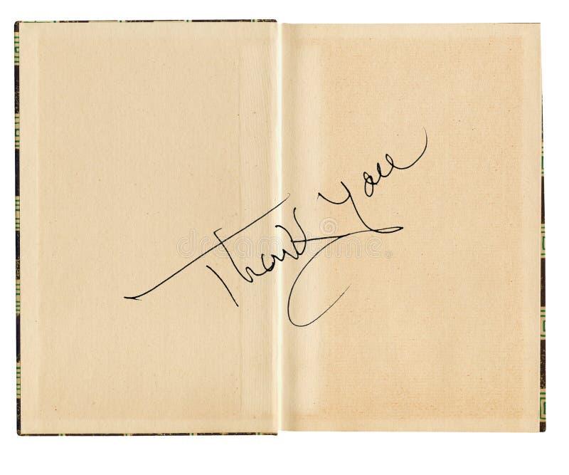 Gracias mensaje en la página del libro fotos de archivo libres de regalías