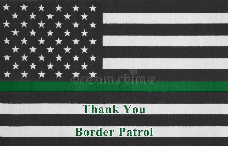 Gracias mensaje en una bandera fina americana de la Línea Verde imágenes de archivo libres de regalías