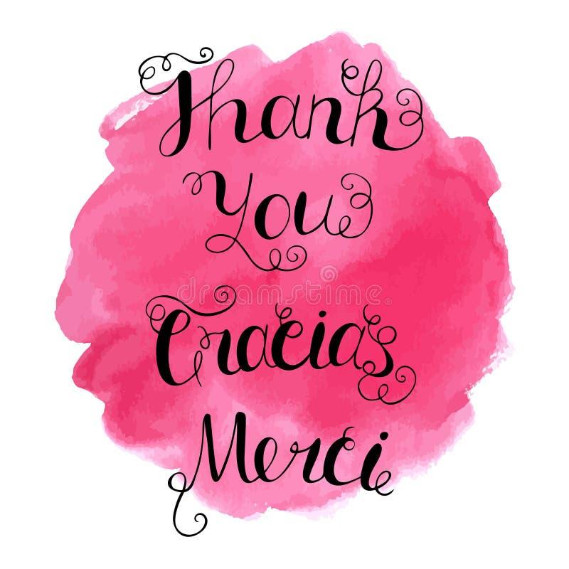 Gracias, Merci e agradece-lhe entregar a rotulação escrita no fundo abstrato da aquarela imagem de stock