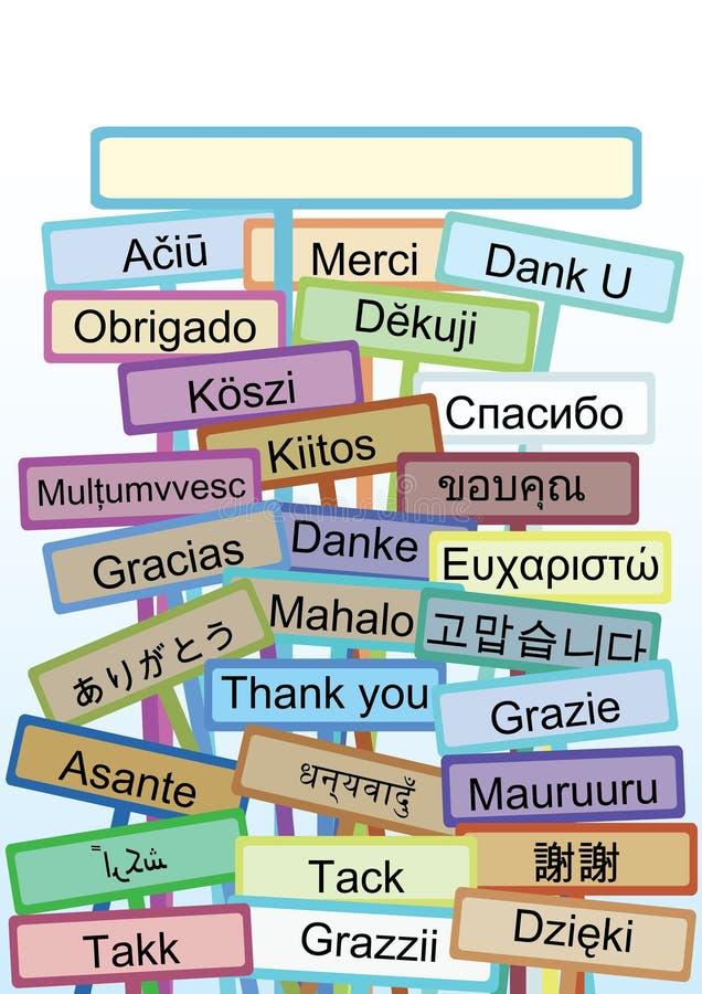 Gracias mucho Languages_eps stock de ilustración